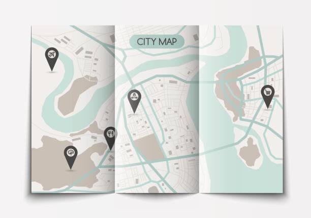 open paper city map - river paper stock illustrations, clip art, cartoons, & icons