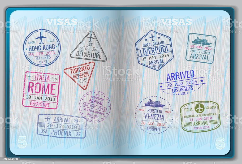 Open passport for foreign traveling vector art illustration