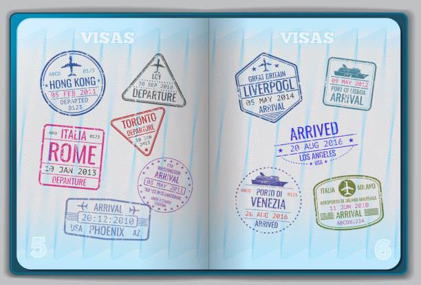 ilustrações, clipart, desenhos animados e ícones de passaporte aberta para estrangeiros viajando - passaporte e visto