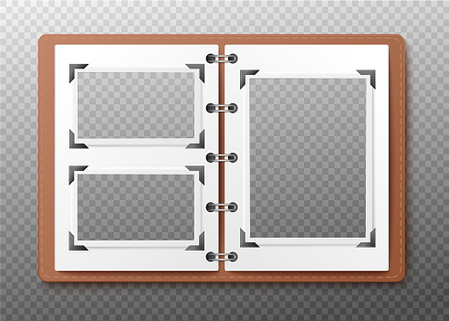 Open photo album mockup with empty frames realistic vector illustration isolated.