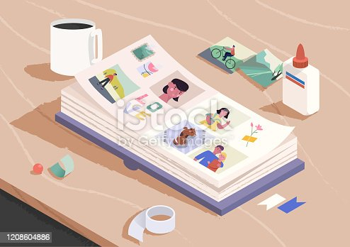 istock Open photo book on the wooden table. Sorting and attaching photo to pages of photographic album. Family memories. Cartoon vector illustration. 1208604886