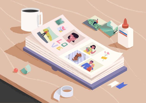 木製のテーブルの上に写真集を開きます。写真アルバムのページに写真を並べ替え、添付する。家族の思い出。漫画のベクトルイラスト。 - 家族写真点のイラスト素材/クリップアート素材/マンガ素材/アイコン素材