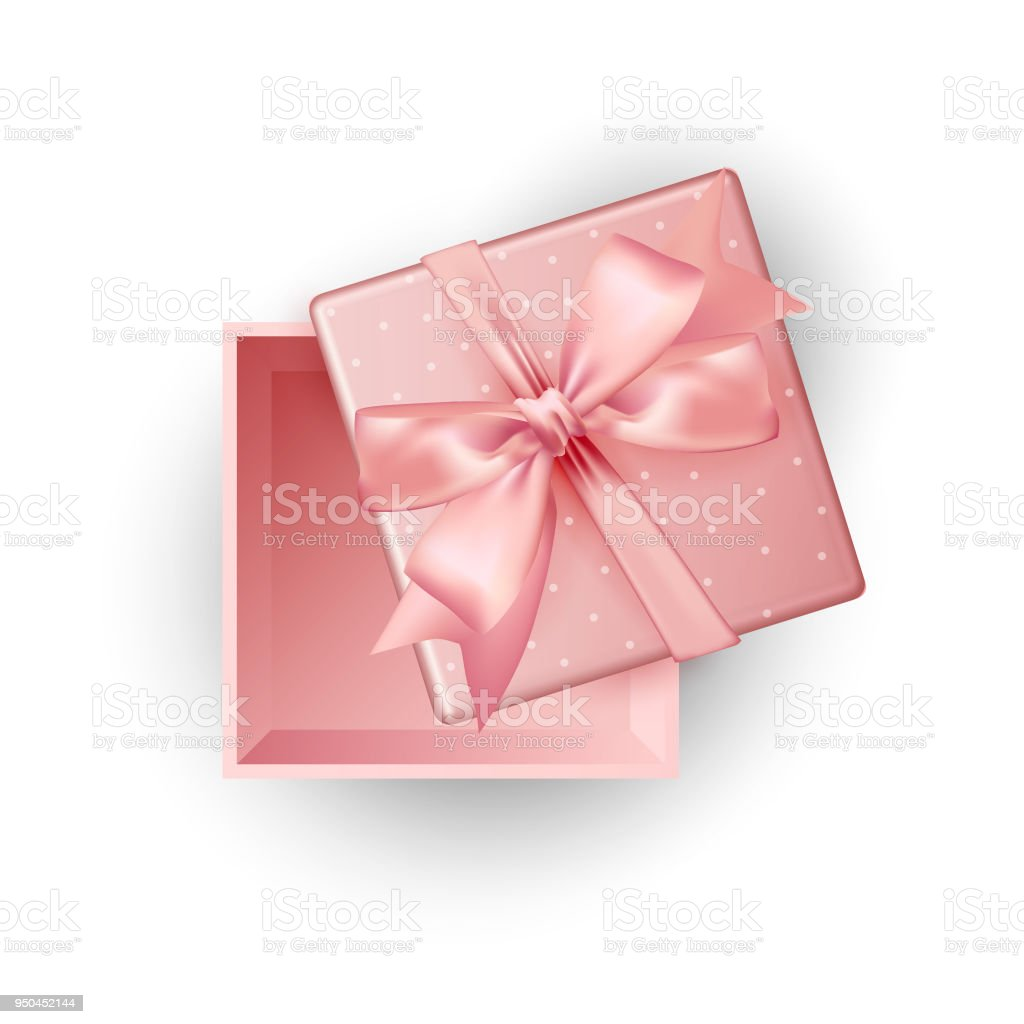Open Pink Gift Box Top View White Background Vector Illustration ...