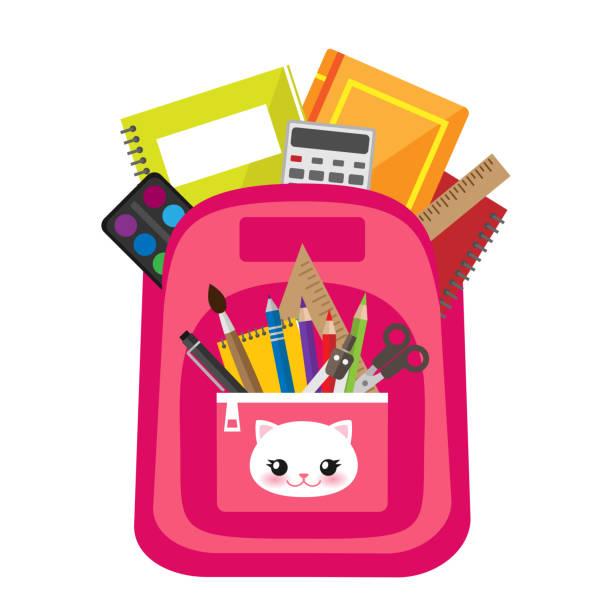 stockillustraties, clipart, cartoons en iconen met open roze vector tas - schooltas