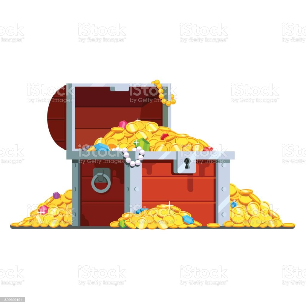 open pirate treasure chest full of gold coins stock vector art