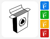 Open Playing Card Box Icon. This 100% royalty free vector illustration features the main icon pictured in black inside a white square. The alternative color options in blue, green, yellow and red are on the right of the icon and are arranged in a vertical column.