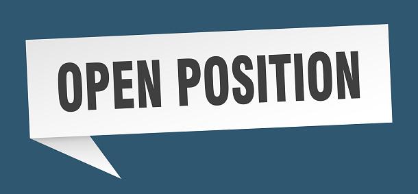 open position banner. open position speech bubble. open position sign