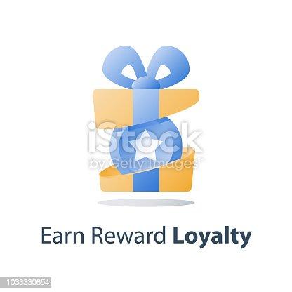 Yellow reward gift, open present box, loyalty program, earn points, collect bonus, redeem special prize, wonder box, vector icon, flat illustration