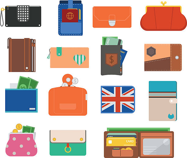 Open purse wallet vector set. Open purse leather wallet with money shopping. Shopping buy change business currency leather open purse wallet. Financial one payment bag accessory object open purse trendy wallet vector. change purse stock illustrations