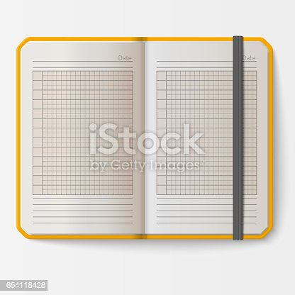 Open Realistic Notebook With Pages Diary Office Sheet Template ...