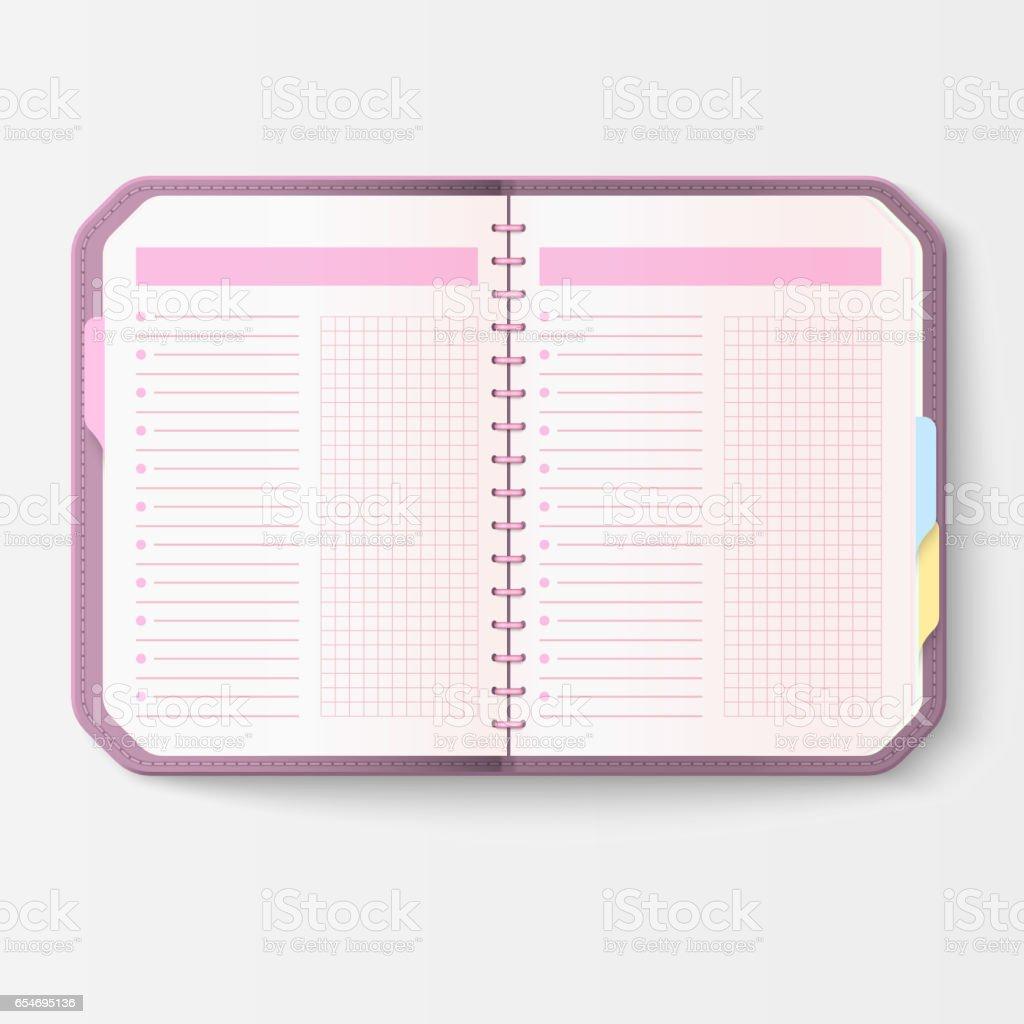 Cuaderno Abierto Realista Con Libreto De Páginas Diario Oficina De ...