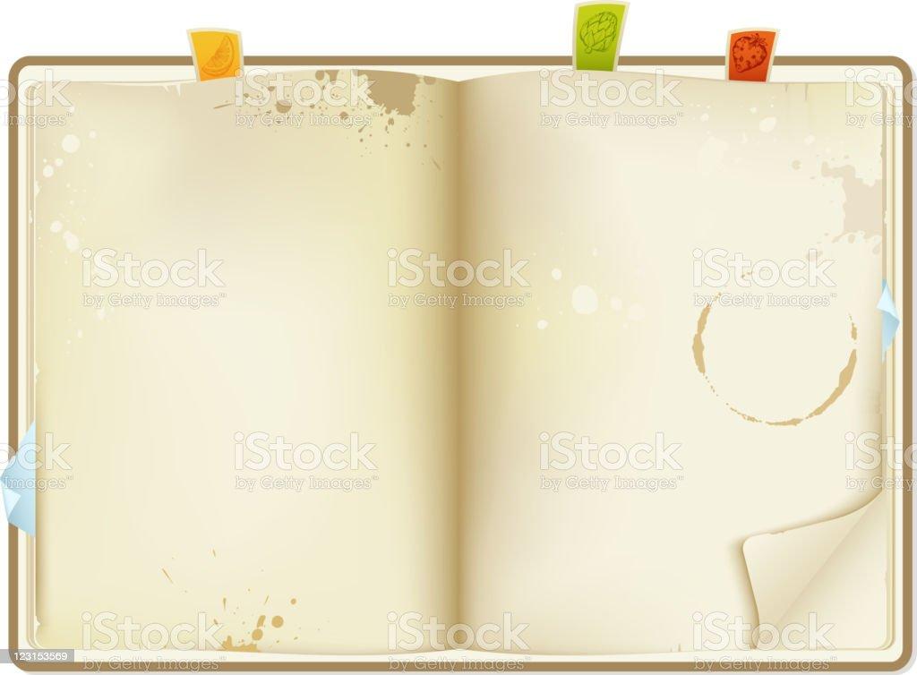 open recipe book vector art illustration
