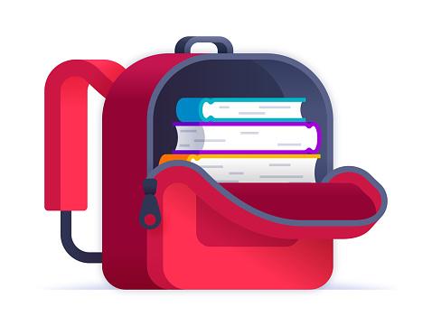 Open Red Backpack Full of Books