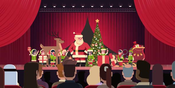 illustrazioni stock, clip art, cartoni animati e icone di tendenza di open red curtain santa claus and elves theater show merry christmas happy new year holiday concept horizontal flat - christmas movie