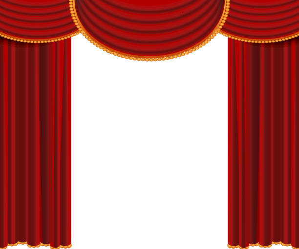 Open red curtains, vector, isolated Red curtains background template. Realistic vector illustration isolated on white party conference stock illustrations