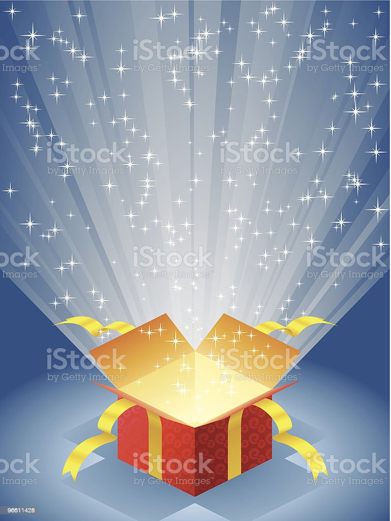 Open red gift box with radiant light - Royalty-free Achtergrond - Thema vectorkunst