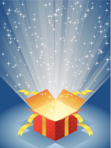 Open Red Gift Box With Radiant Light Stockvectorkunst en meer beelden van Achtergrond - Thema