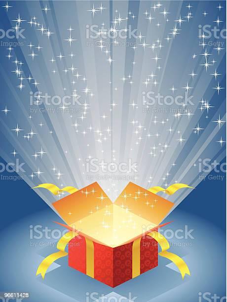 Open Red Gift Box With Radiant Light-vektorgrafik och fler bilder på Band