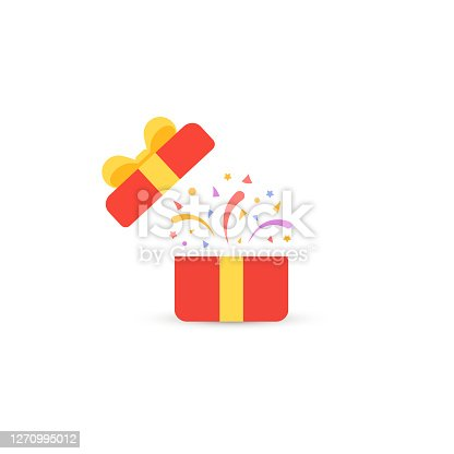 Vector illustration of open red gift confetti background.