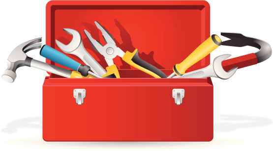 Open red toolbox with tools inside