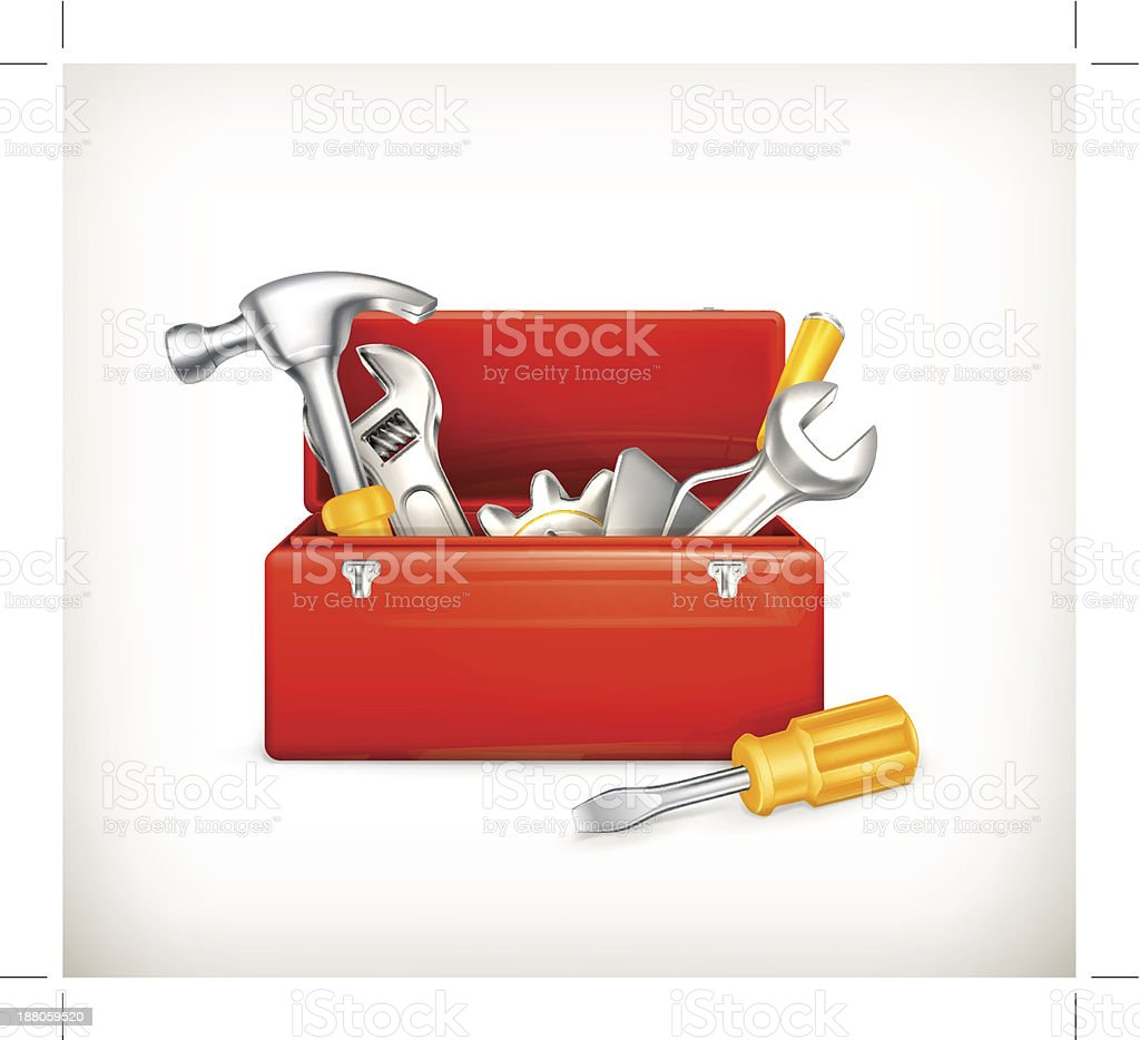 Open red toolbox with yellow handled tools inside royalty-free stock vector art