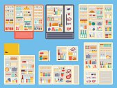 Open refrigerator products vector set.