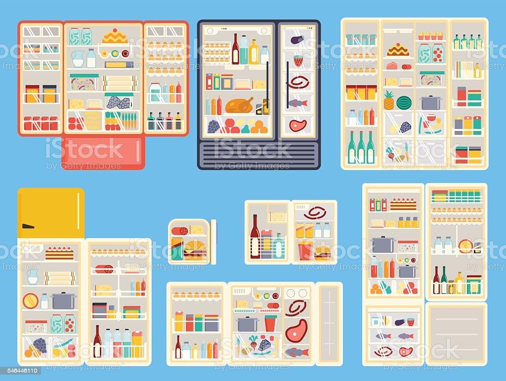 Open refrigerator products vector set. vector art illustration