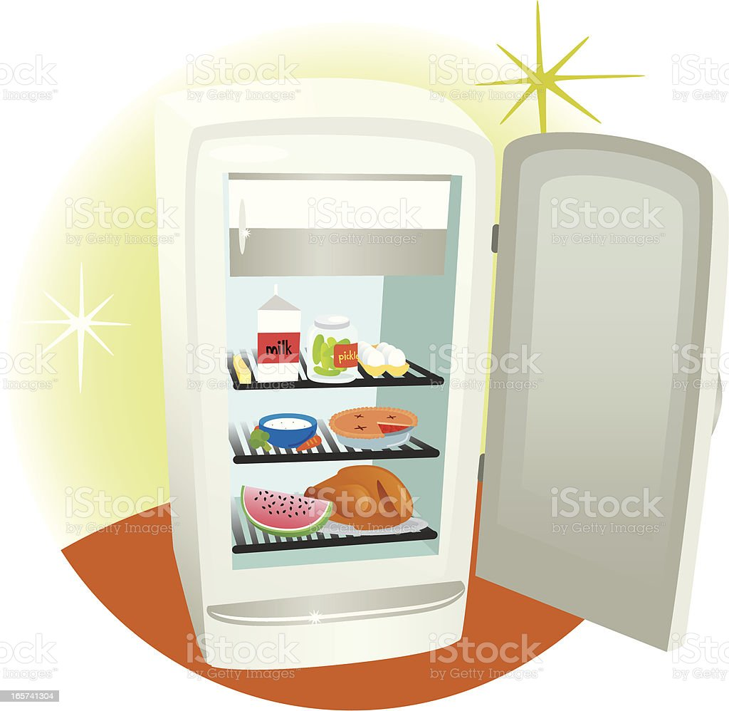 Open Refrigerator royalty-free stock vector art