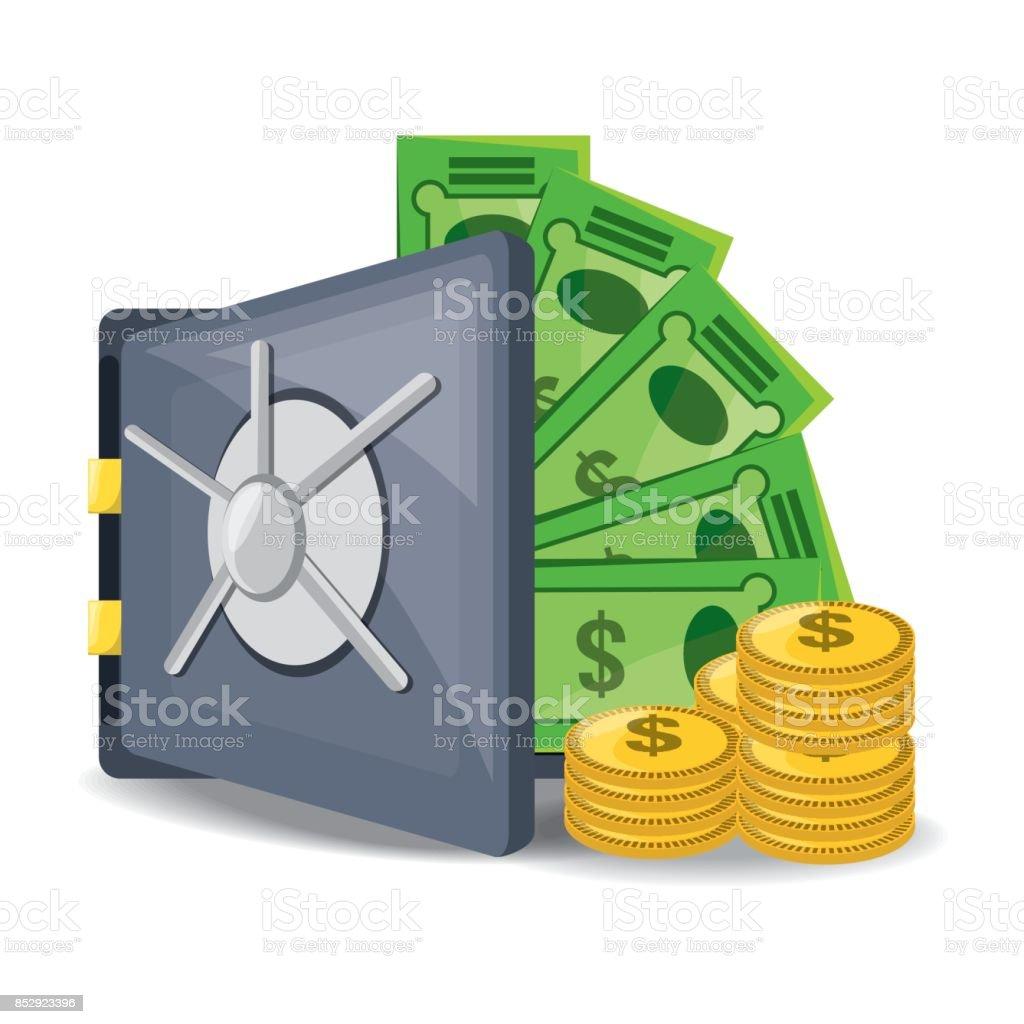 abrir caja fuerte con una gran cantidad de dinero ahorrado - ilustración de arte vectorial