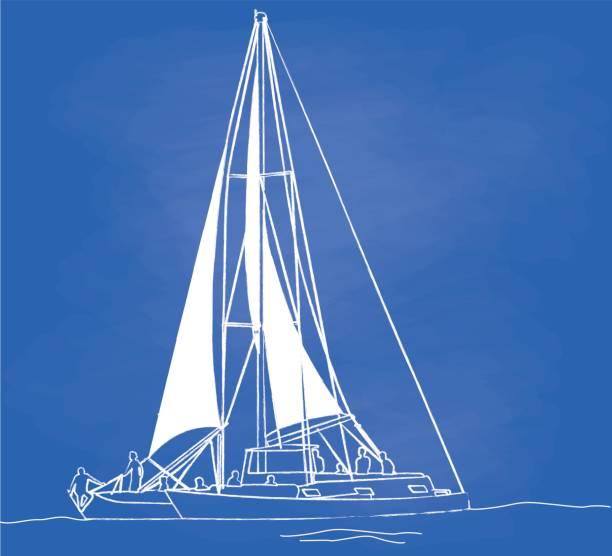 offene segel - segeln stock-grafiken, -clipart, -cartoons und -symbole