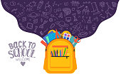 Open school backpack full of stationery with school subject doodle on white background. Back to school. Welcome.