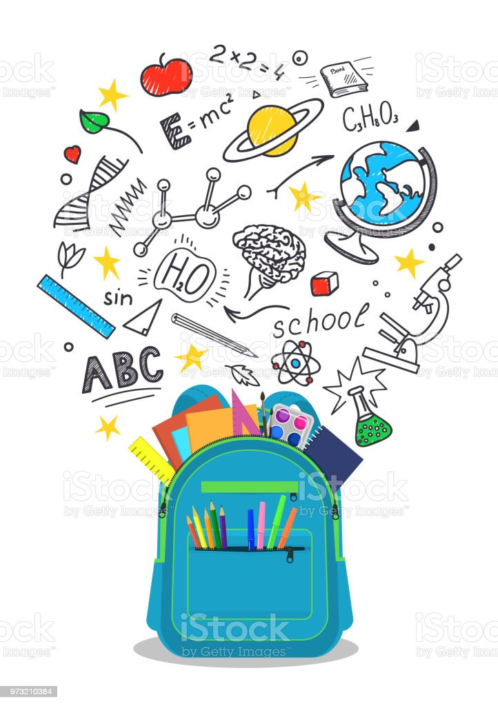 Open School Backpack With Doodles Stock Illustration