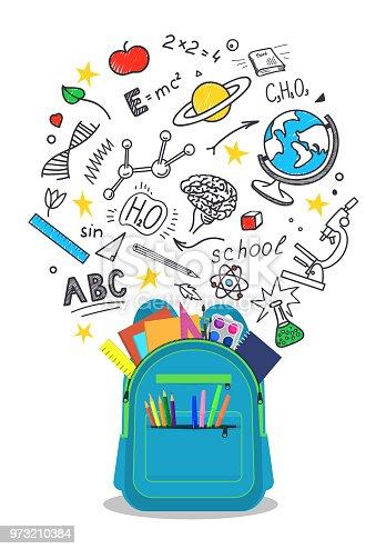 Open school backpack with doodles.