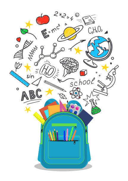 Open school backpack with doodles. vector art illustration