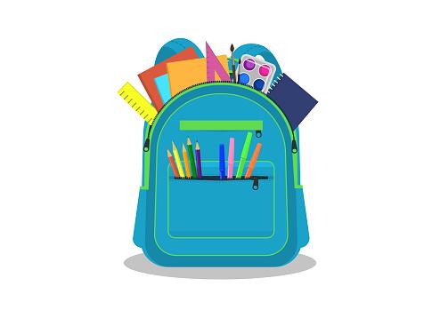 Open school backpack with supplies.