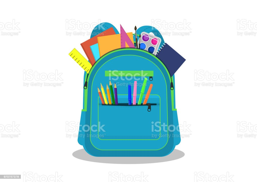 Open school backpack with supplies. vector art illustration