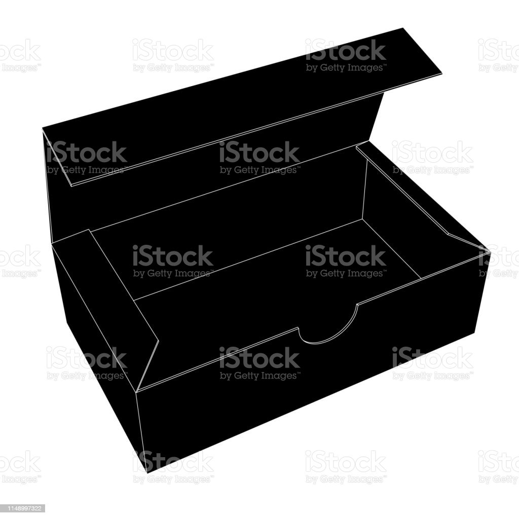 Ilustración De Caja De Zapatos Abierta Dibujo De Contorno Negro Y Más Vectores Libres De Derechos De Caja Istock