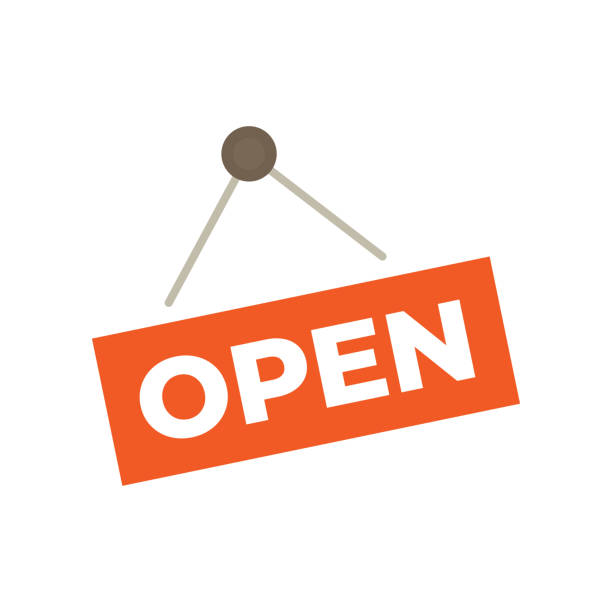 Open sign hanging isolated on white wal Open sign hanging isolated on white wal open sign stock illustrations
