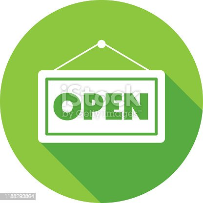 istock Open Sign Icon Silhouette 1188293864