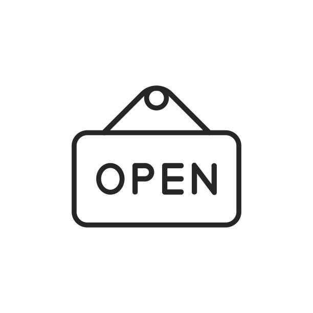 Open Sign Line Icon. Editable Stroke. Pixel Perfect. For Mobile and Web. Open Sign Outline Icon with Editable Stroke. open sign stock illustrations