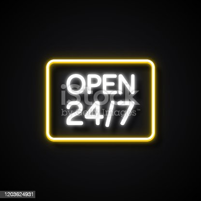 24/7 Open Sign Neon Style, Design Elements