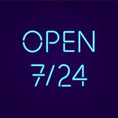 Open 7-24 Sign in Neon Lights
