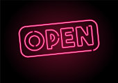 Open Sign Red Neon Light On Black Wall