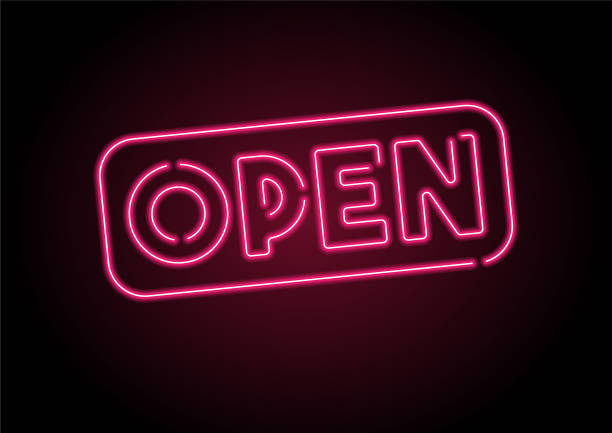 Open Sign Red Neon Light On Black Wall Open Sign Red Neon Light On Black Wall opening stock illustrations