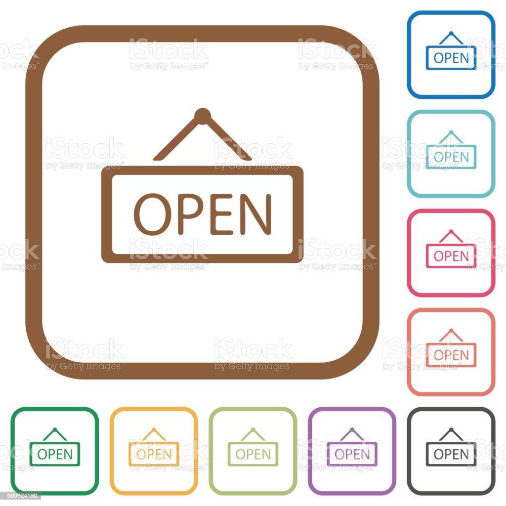 Open sign simple icons open sign simple icons - immagini vettoriali stock e altre immagini di aperto royalty-free