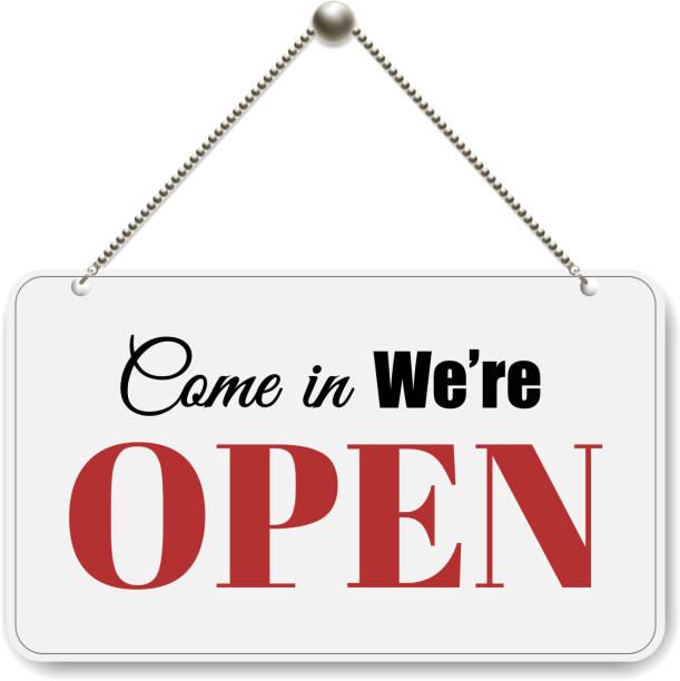 Open Sign Open Sign With Gradient Mesh, Vector Illustration open sign stock illustrations