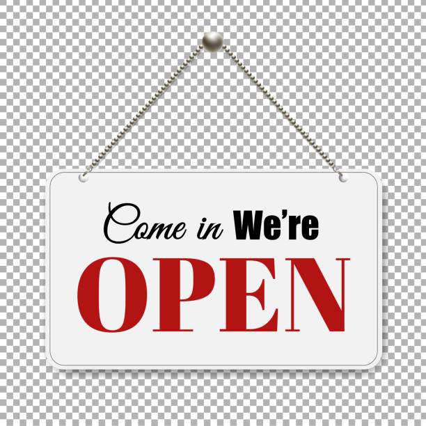 open sign with transparent background - wisieć stock illustrations