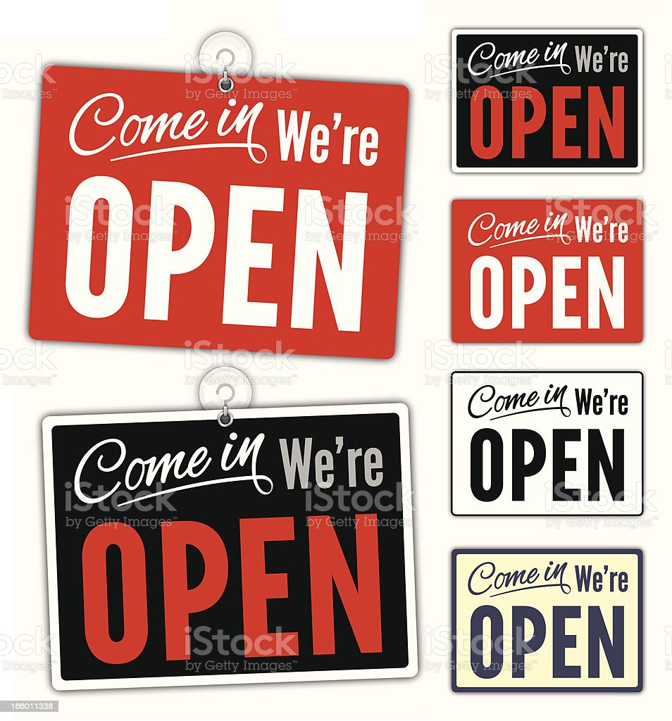 Open Signs vector art illustration