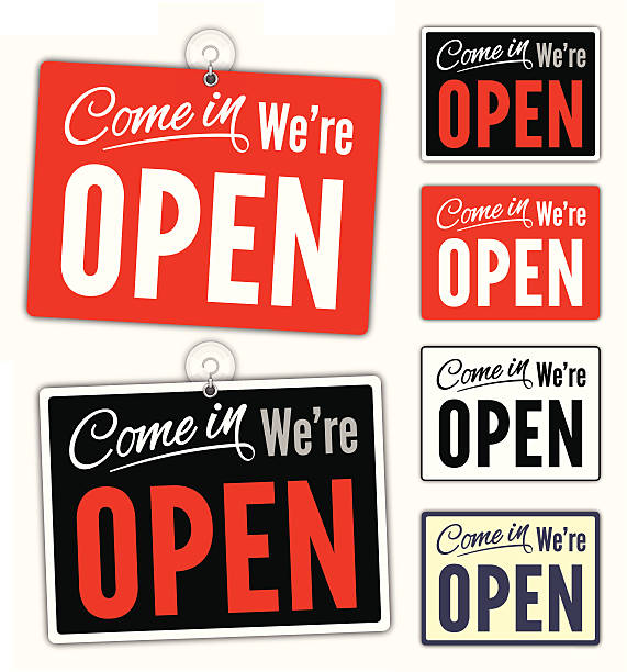 stockillustraties, clipart, cartoons en iconen met open signs - open