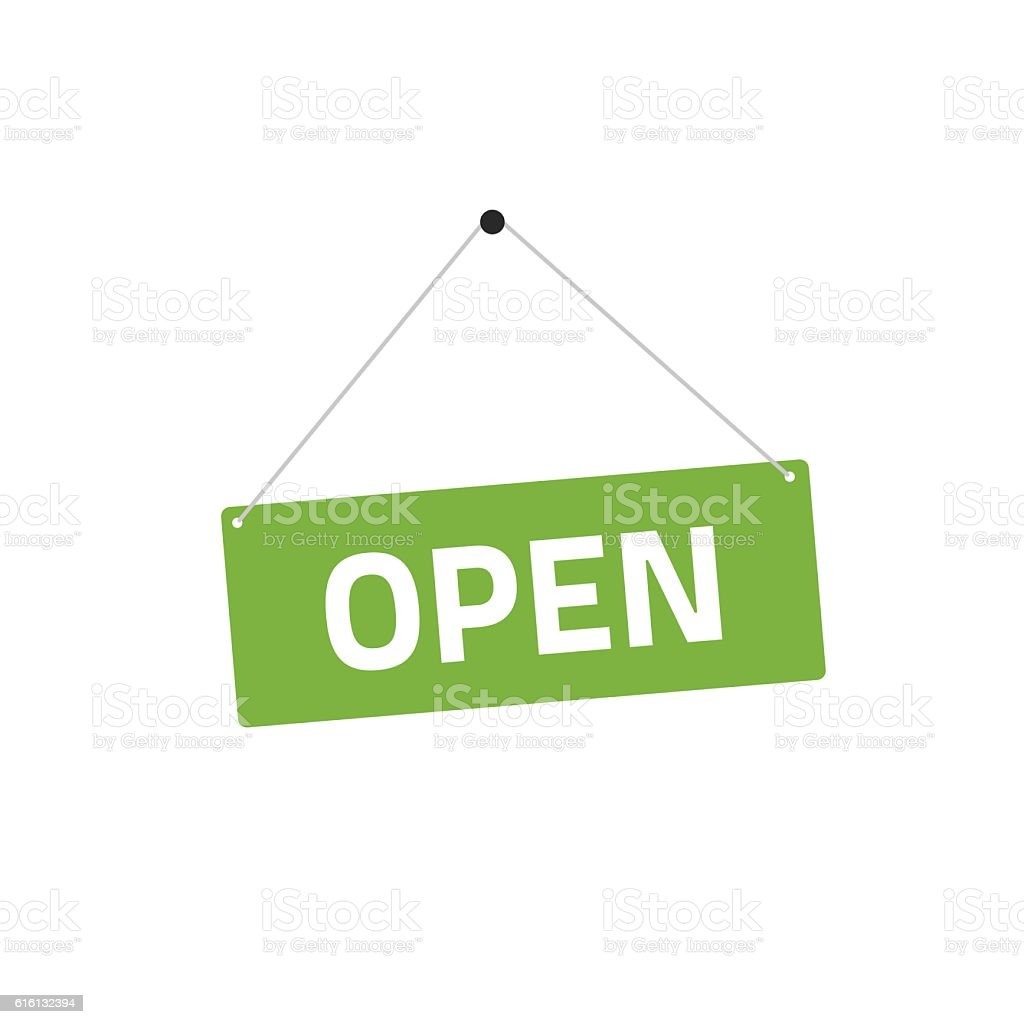 Open sing vector illustration, flat style signboard hanging vector art illustration